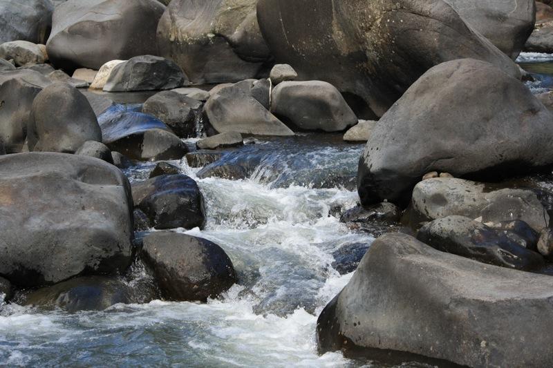Sungai kecil dengan banyak batu besar yang mengalir di belakang
